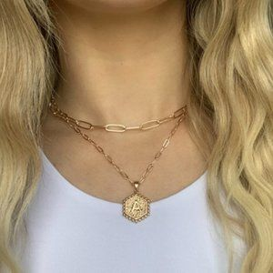 NWT 14K GP Initial Layer Necklace